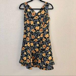 Vintage 90s CDC Sunflower Floral Summer Dress Sz 6